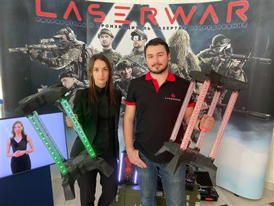 Digital flags for laser tag at the stand of LASERWAR