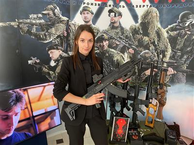 The stand of the manufacturer of laser tag weapons